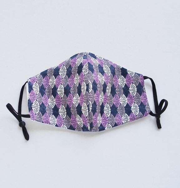 Purple white and grey triangles print, Two Layer Face Mask