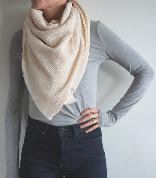 Cream Gauze Blanket Scarf