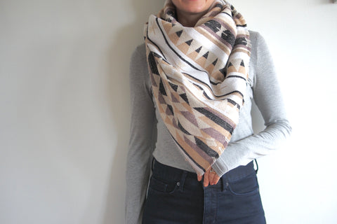 Cream, Mauve, Blush Black Triangle Scarf