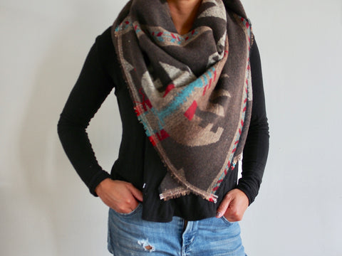 Beige, Black Blue and Red Aztec Triangle Scarf
