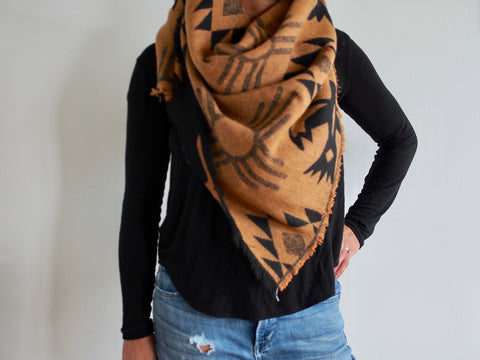 Black and Tan Triangle Scarf