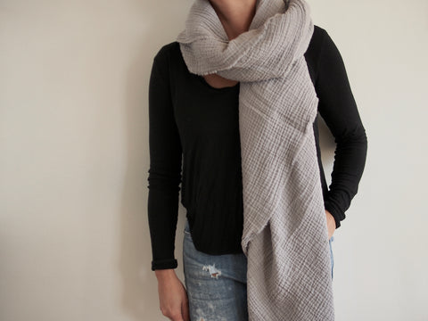 Medium Grey Gauze Blanket Scarf