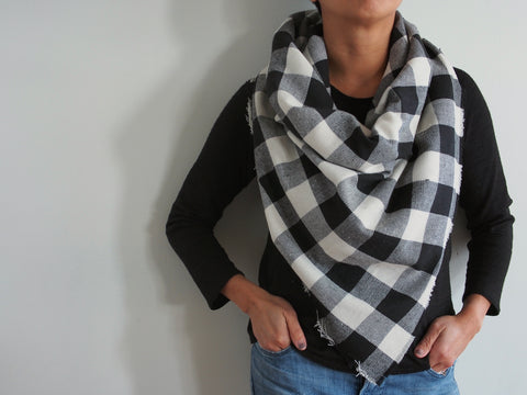 White and Black Buffalo Plaid Triangle Scarf