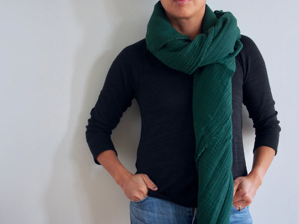 Hunter Green Gauze Blanket Scarf