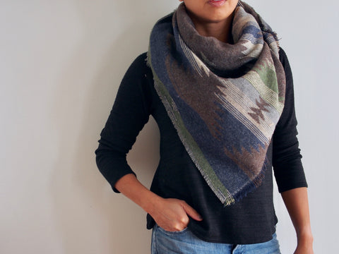 Green, Grey, Blue Southwest Triangle Scarf