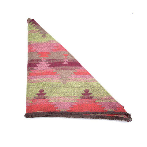 Green Purple Red Southwest Print Triangle Scarf