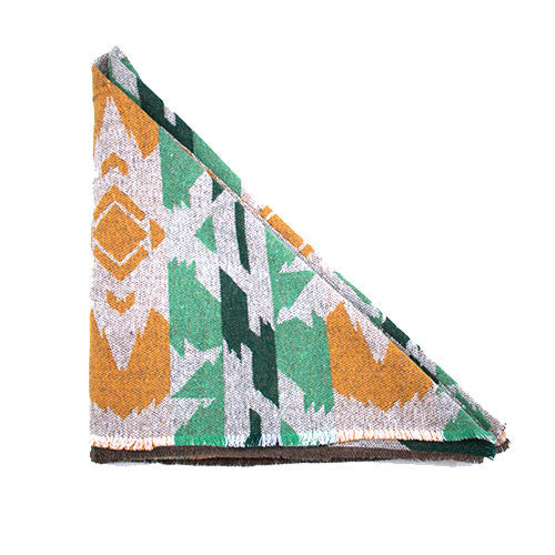 Grey Green and Mustard Aztec Triangle Scarf