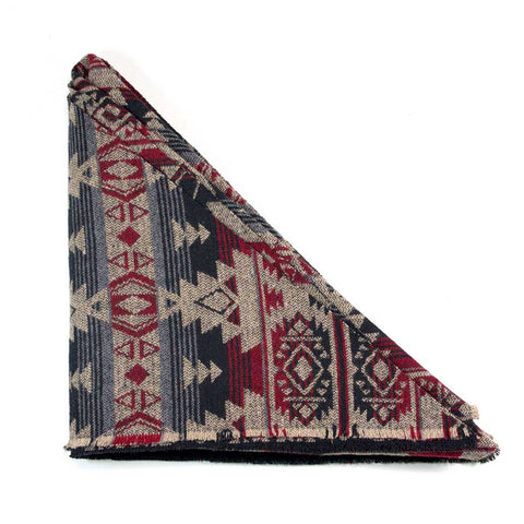 Grey Beige Red Black Aztec Triangle Scarf