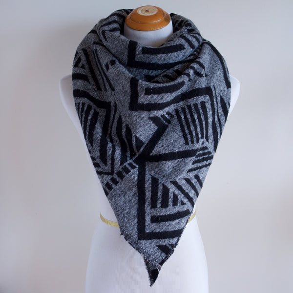 Black and Grey Abstract Triangle Scarf