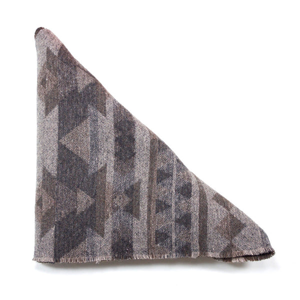 Grey and Brown Aztec Triangle Scarf