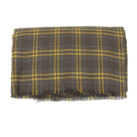 Brown and Mustard Plaid Lightweight Blanket Scarf