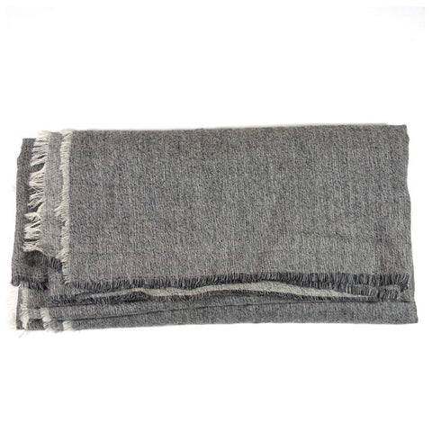Grey Frayed Lightweight Blanket Scarf