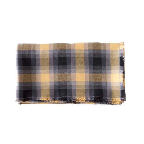 Grey Gold Plaid Blanket Scarf