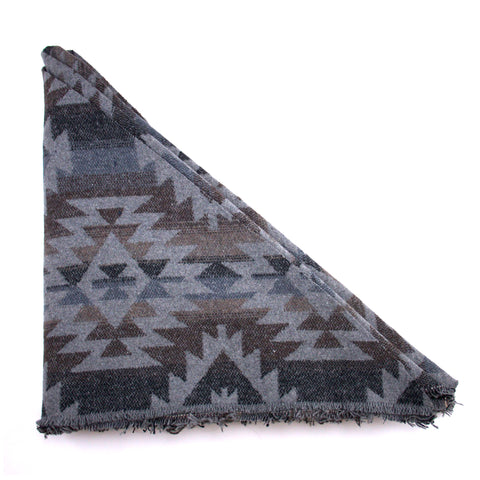 Dark Grey, Blue  Aztec Print Triangle Scarf