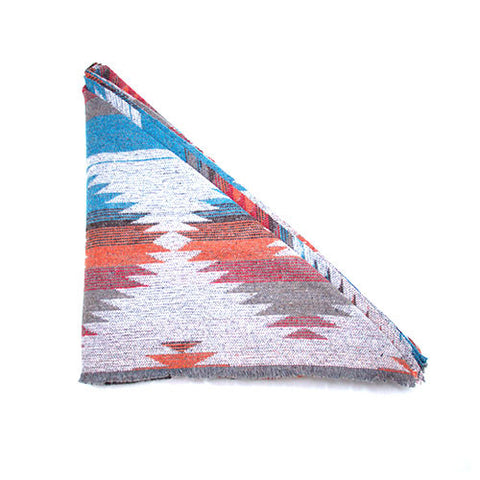 Grey Orange Red Blue Southwest Triangle Scarf