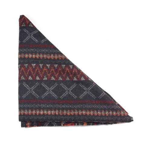 Grey Red and Orange Abstract Triangle Scarf
