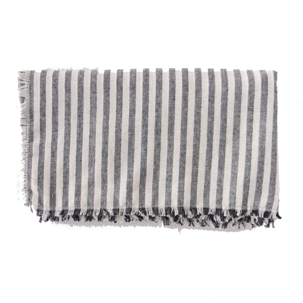 Grey and White Striped Blanket Scarf