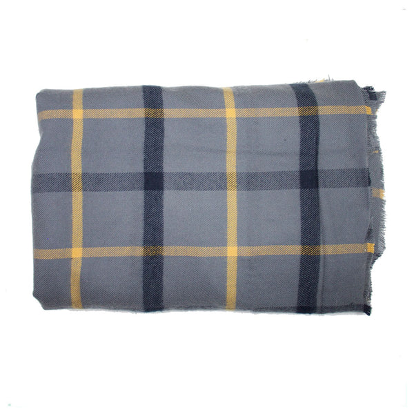 Grey Gold and Black Plaid Blanket
