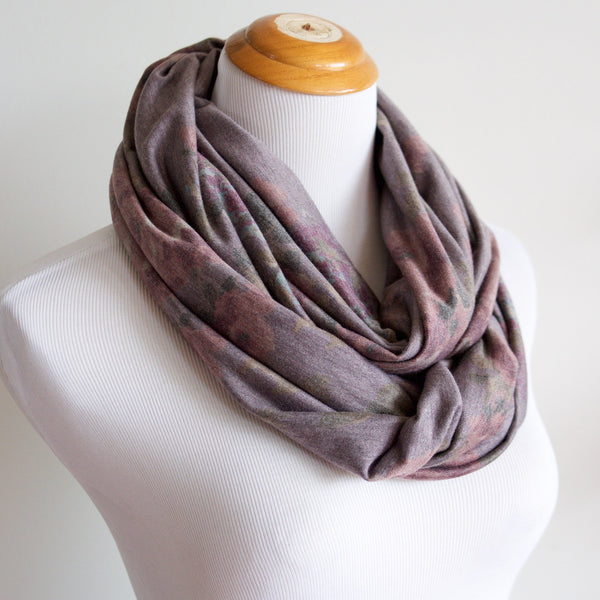 Floral Soft Knit Infinity Scarf - Vintage Purple
