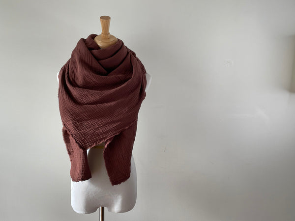 Raisin Brown Gauze Blanket Scarf