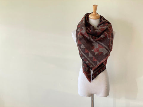 Brown, beige and orange Triangle Scarf