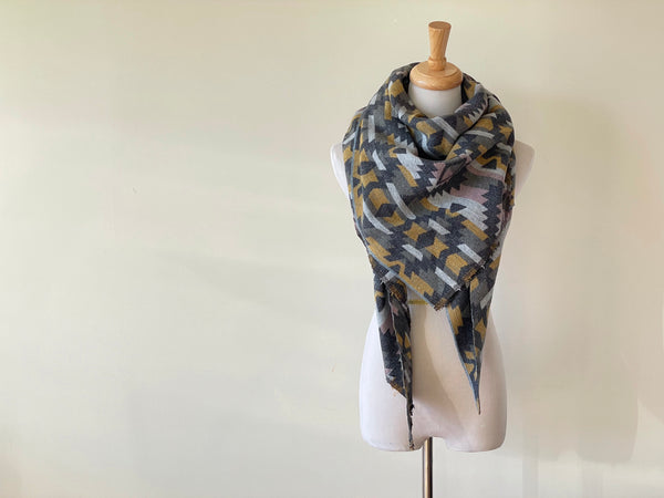 Olive, pink, yellow and grey Triangle Scarf