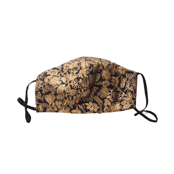 Gold flowers on Black, Three Layer Face Mask