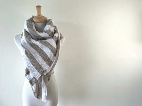 White and tan striped Gauze Blanket Scarf