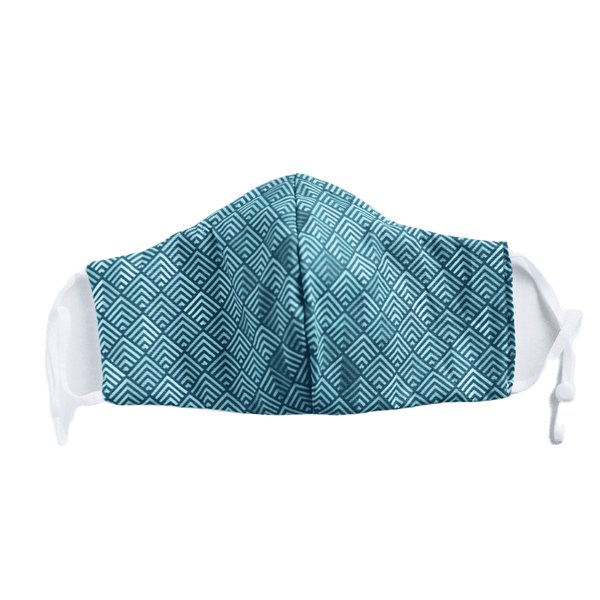 Geometric Print on Teal, Two Layer Face Mask