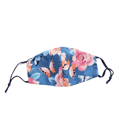 Flowers and Butterflies on Teal, Three Layer Face Mask