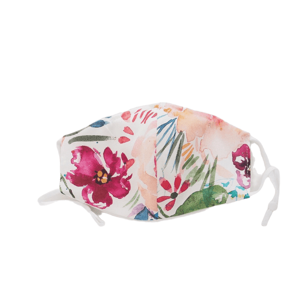 Bright Floral on White Two Layer Face Mask