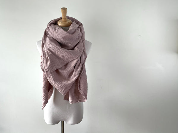 Warm Blush Gauze Blanket Scarf