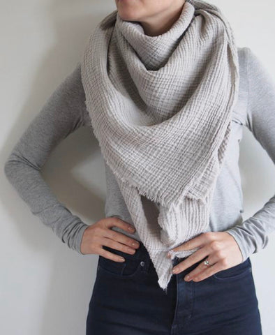 Warm Grey Gauze Blanket Scarf