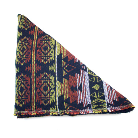 Lime Rust & Black Tribal Print Triangle Scarf