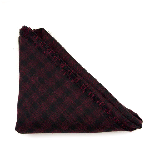 Black and Maroon Checked Triangle Scarf