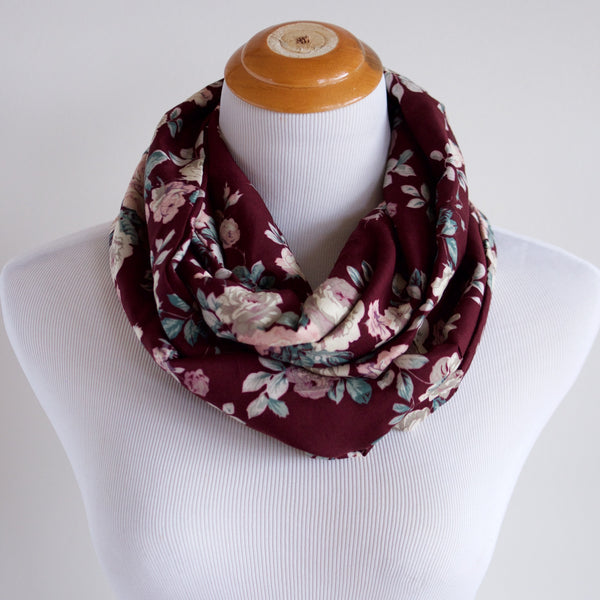 Floral on Maroon Infinity Scarf