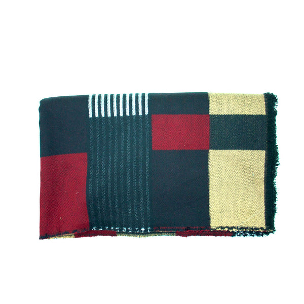 Maroon, Black, Gold and White Block Blanket Scarf