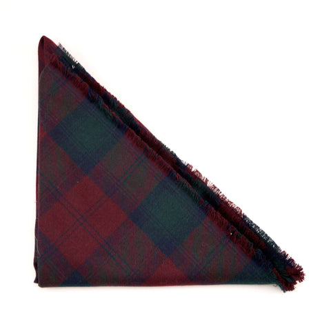 Maroon and Green Wool Plaid Triangle Scarf