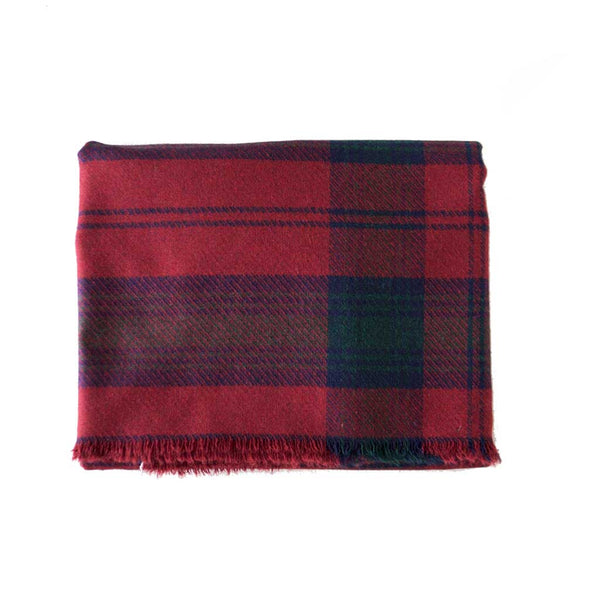 Maroon Navy Green Wool Plaid Blanket Scarf