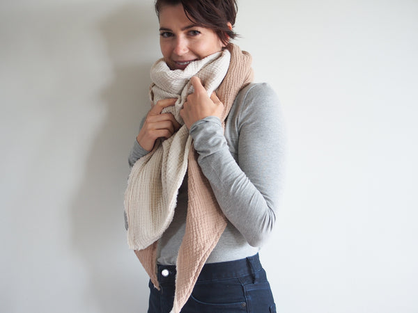 Cream and Tan Gauze Blanket Scarf