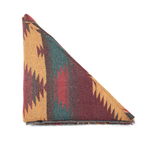 Mustard Aqua Red Blue Southwest Triangle Scarf