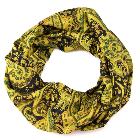 Mustard Paisely Lightweight Infinity Scarf