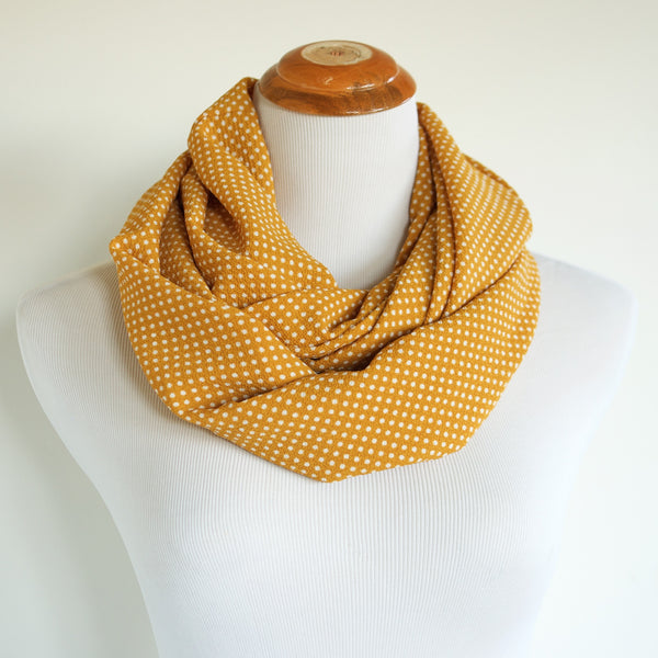 Mustard and White Polka Dot Lightweight Infinity Scarf