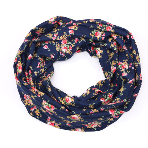 Navy Lightweight Floral Infinity
