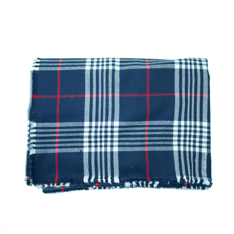 Navy, Red and White Plaid Blanket Scarf