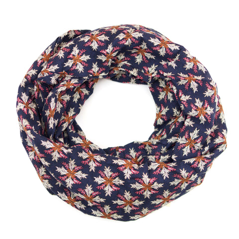 Navy Pink and Orange Boho Snowflake Infinity