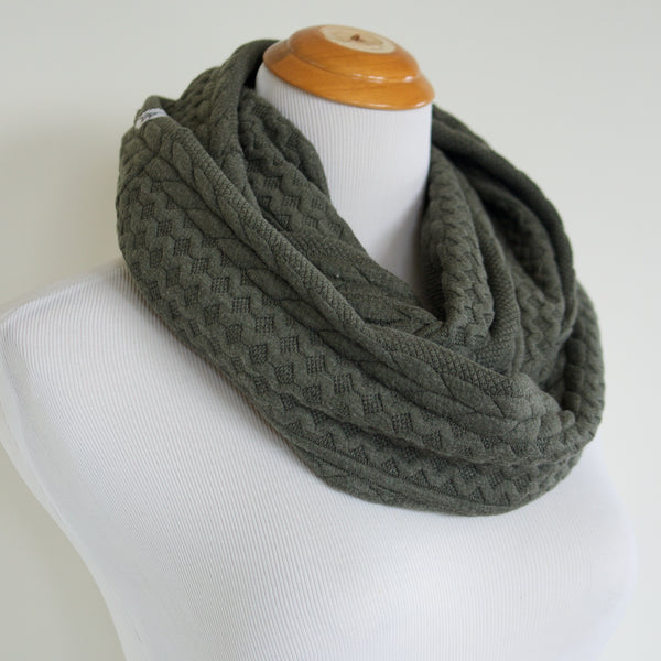 Olive Cable Knit Sweater Infinity Scarf
