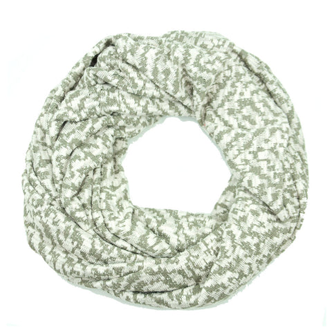 Olive and White Sweater Knit Infinity Scarf