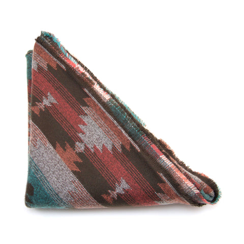 Brown, Orange and Teal Southwest Print Triangle Scarf