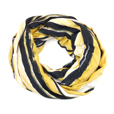 Black Mustard Cream Painted Striped Infinity